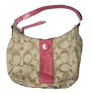 Coach signature stripe hobo bag pink tan classic